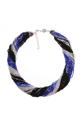 Бисерное ожерелье из 48 нитей черно-синее