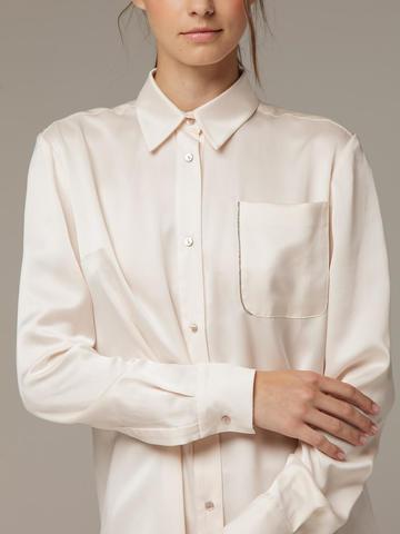 Женская белая рубашка из 100% шелка - фото 2