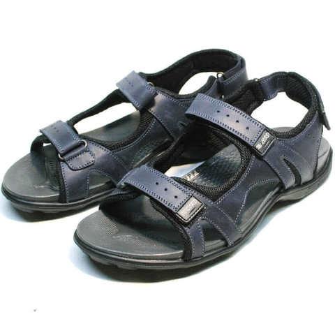 Трекинговые сандалии мужские кожаные. Спортивные сандалии на липучках MiLORD Blue