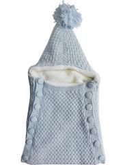 Папитто. Конверт вязаный на пуговицах полушерстяной с подкладкой велсофт, голубой