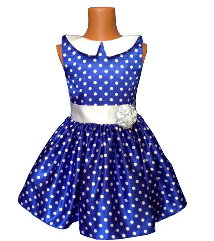 Платье васильковое в горох с воротничком