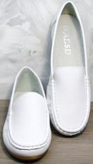 Женские мокасины белые AESD 902 White