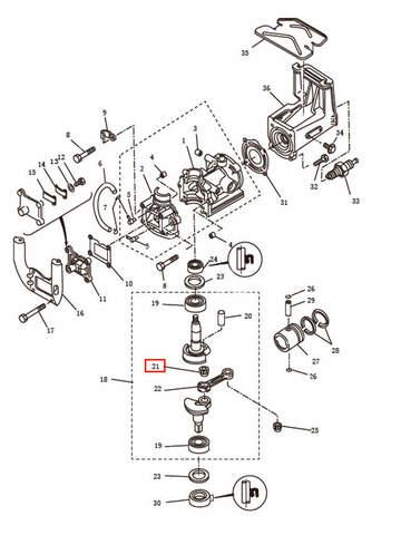 Подшипник шатуна   для лодочного мотора T2,5 SEA-PRO (2-21)