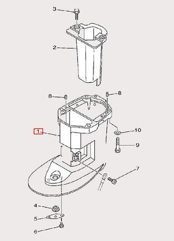 Корпус дейдвуда для лодочного мотора F9,9 Sea-PRO (23-1)