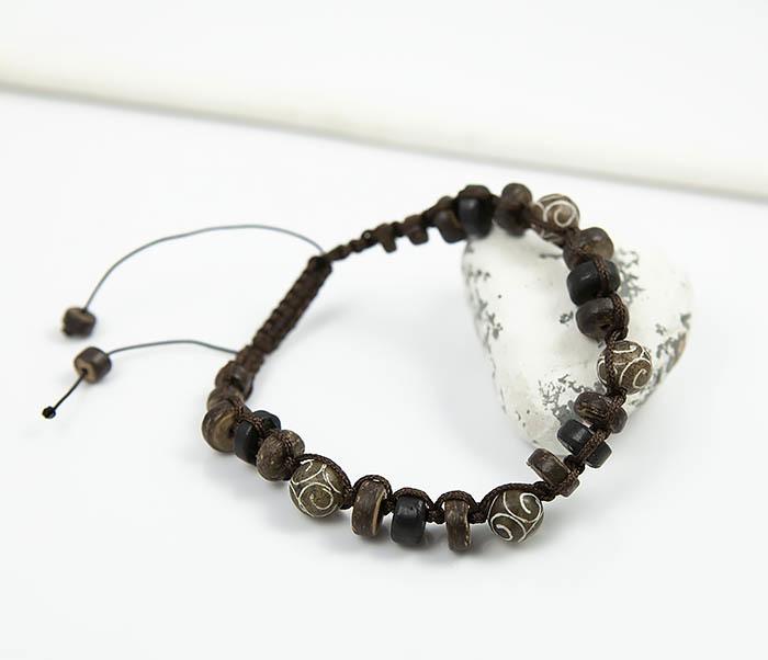 BS804 Мужской браслет из деревянных бусин и камня фото 01