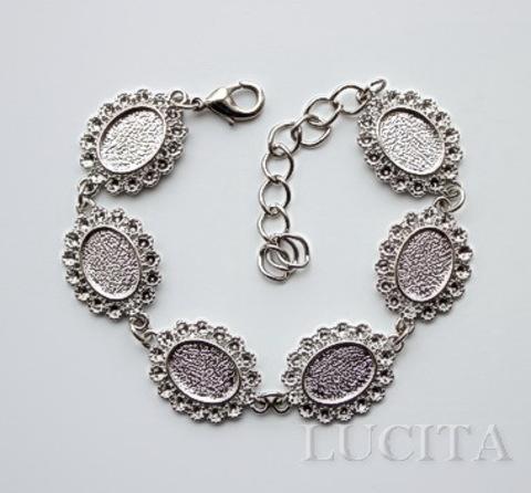 Основа для браслета с 6 сеттингами для кабошона 14х10 мм, 25 см (цвет - античное серебро)
