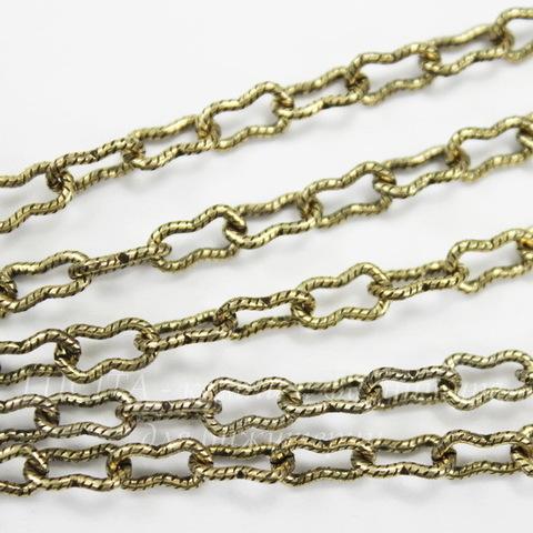 """Винтажная цепь """"Peanut"""" (звено 7,5х4 мм) (античное золото), 10 cм"""