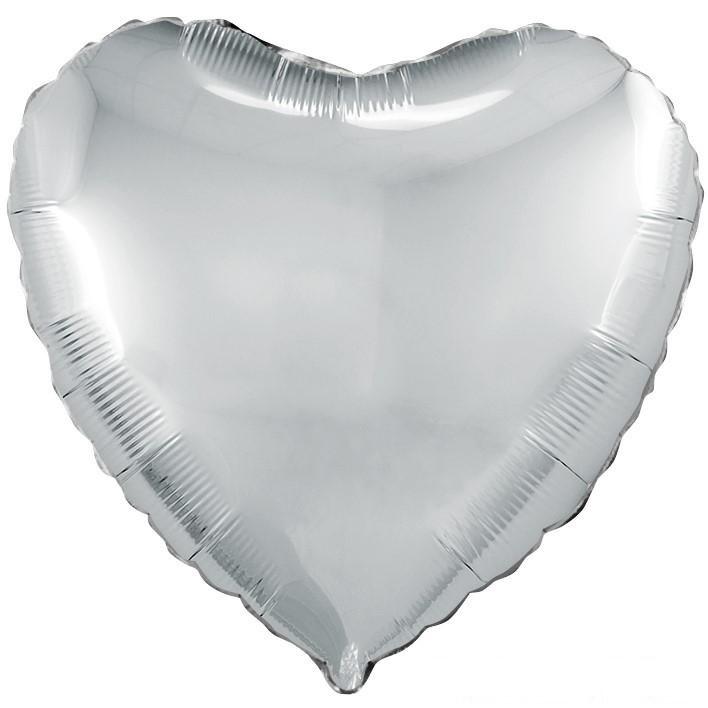 Шар Сердце серебро 46 см