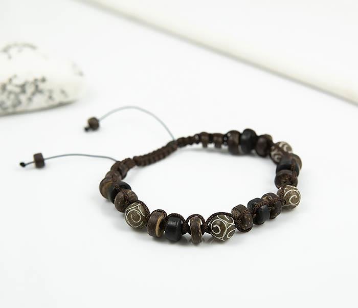 BS804 Мужской браслет из деревянных бусин и камня фото 03