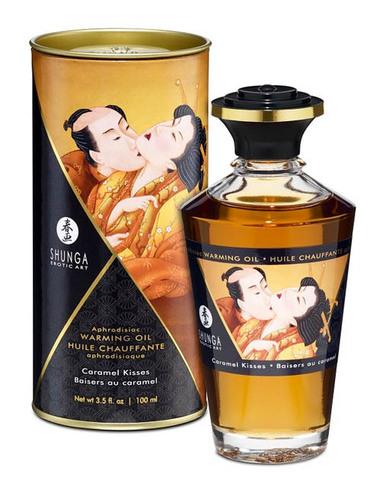 Съедобное массажное масло SHUNGA APHRODISIAC WARMING OIL Caramel Kisses - Карамельный поцелуй (100 мл)