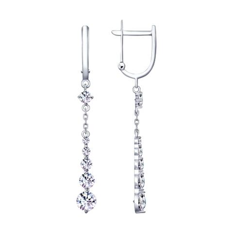 Серьги длинные из серебра с фианитами арт. 94020517