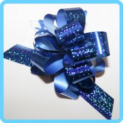 Бант подарочный синий с блестками 3 см