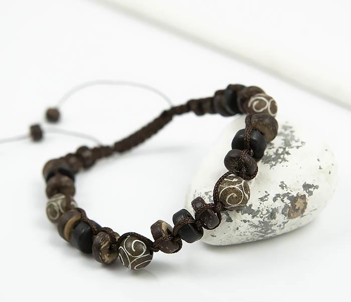 BS804 Мужской браслет из деревянных бусин и камня фото 05