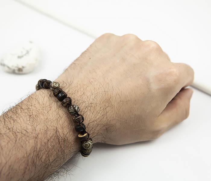 BS804 Мужской браслет из деревянных бусин и камня фото 06