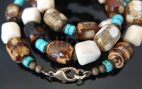 бусы из натуральных камней_агат, бирюза, белый коралл_фото
