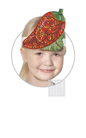Фото Головной убор - маска Перчик с Хохломской росписью рисунок Маски для детского сада: для театрализованных и подвижных игр. Эти уникальные  маски ободки станут незаменимым, а подчас - и единственным элементом костюма!