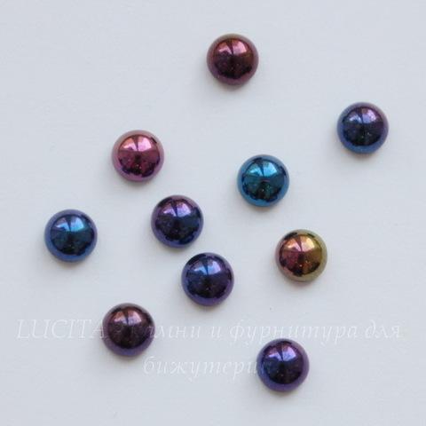 Кабошон круглый Чешское стекло, цвет - фиолетовый микс, 5 мм, 10 штук