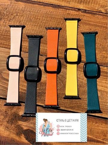 Ремешок Apple watch 42mm Modern Buckle Leather black /orange/