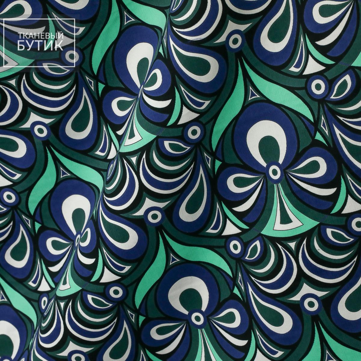 Хлопковый микровельвет с геометрическим орнаментом