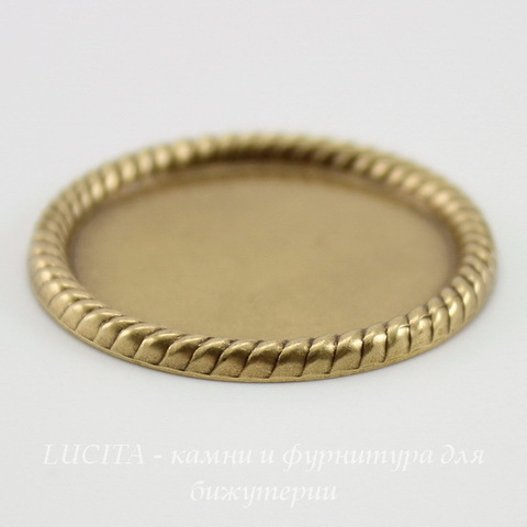"Сеттинг - основа ""Плетенка"" для камеи или кабошона 25 мм (оксид латуни)"
