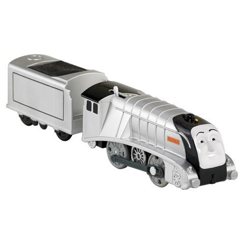 Fisher Price BMK88-6 Моторизованный паровоз СПЕНСЕР с прицепом из серии Трекмастер