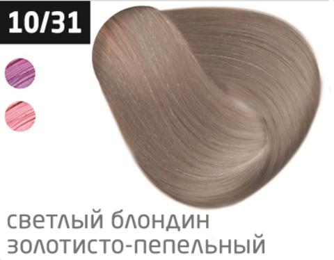 OLLIN color 10/31 светлый блондин золотисто-пепельный 60мл перманентная крем-краска для волос