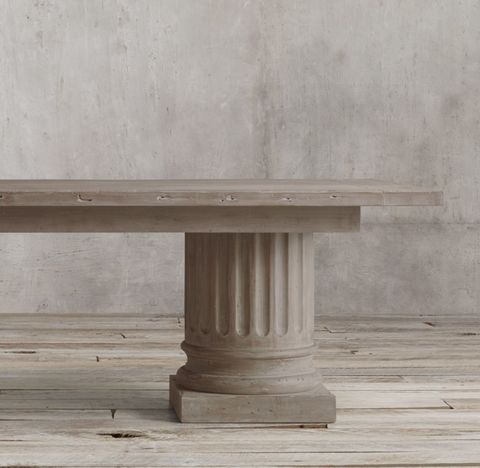 Salvaged Wood Architectural Column Rectanguar Extension Dining Table