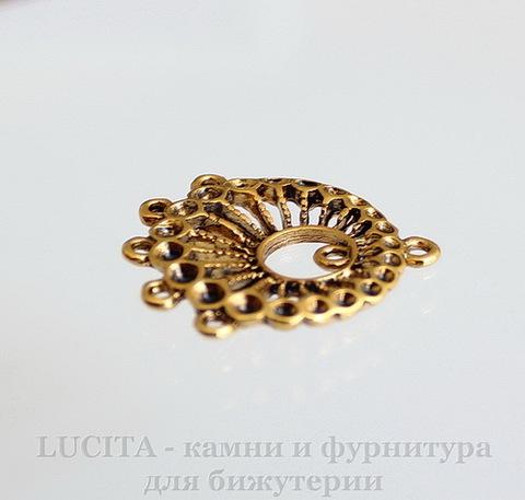 """Коннектор """"Плетеный"""" (1-5) 27х22 мм (цвет - античное золото) ()"""