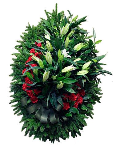 Траурный венок из живых цветов ВЖ 14 -120 см