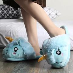 Тапочки Единорог голубые