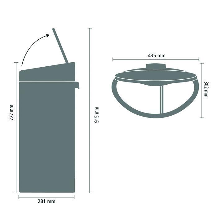 Двухсекционный мусорный бак Touch Bin New (10/23 л), Стальной матовый (FPP), арт. 112867 - фото 1