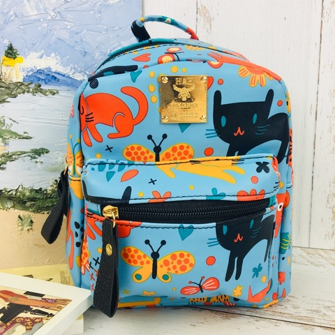 Детский рюкзак Весёлые Коты голубой