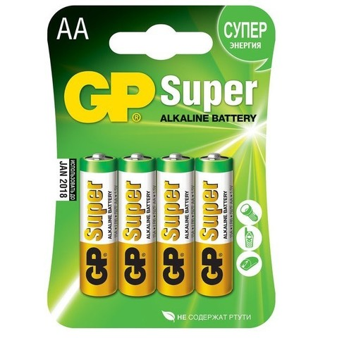 Батарейка алкалиновая GP Batteries Super Alkaline 15А АA 4 шт.