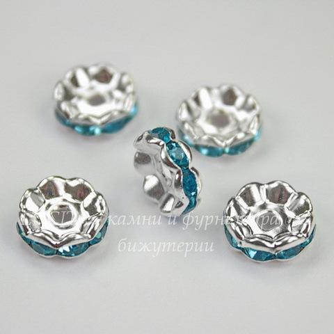 Бусина - рондель 10х4 мм с голубыми фианитами (цвет - серебро), 5 штук