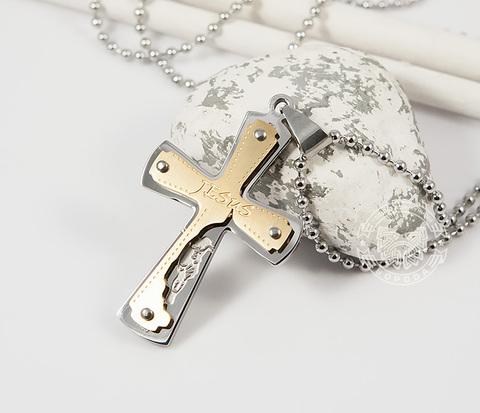 PM225 Крупная мужская подвеска крест &#34Jesus&#34 из ювелирной стали