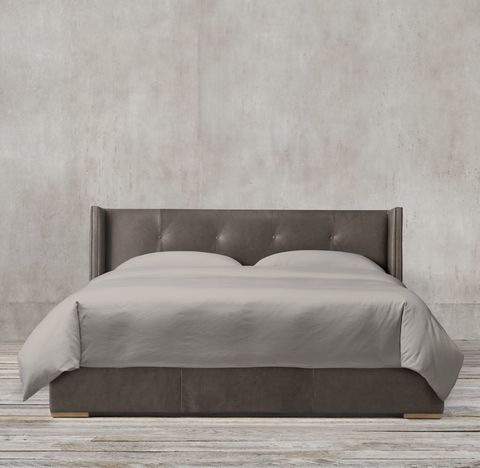 Tompkins Shelter Box-Tufted Leather Bed With Nailheads