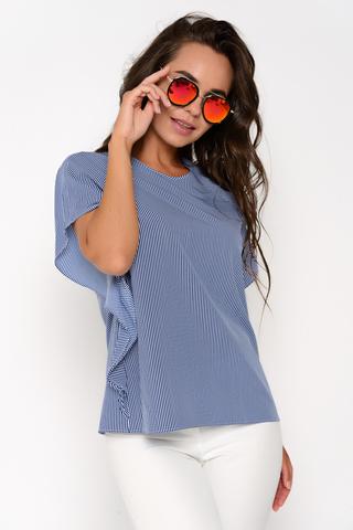 """Очаровательная модная блузка в полоску. Прямой силуэт, рукав """"крыло"""".  Застежка на спинке на пуговице. Отличный летний вариант. Длина: 44-50р - 60см"""