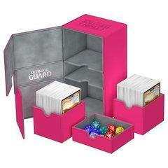 Ultimate Guard - Двойная кожаная розовая коробочка с отделением для кубиков на 200 карт