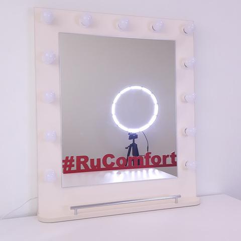 Зеркало визажиста с подсветкой и полкой, 780х680 мм, 13 ламп