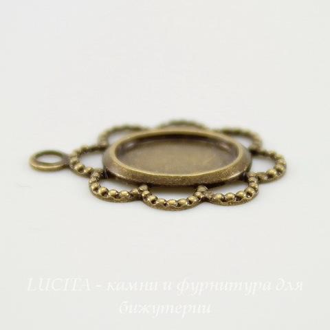 """Сеттинг - основа - подвеска """"Ажурный"""" для камеи или кабошона 8х6 мм (оксид латуни)"""