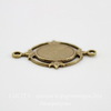 """Сеттинг - основа - коннектор """"Листики"""" (1-1) для камеи или кабошона 10х8 мм (оксид латуни)"""