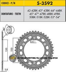 Звезда задняя ведомая Sunstar Rear Sproket 5-3592-51 для мотоцикла Yamaha