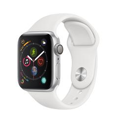 Часы смарт Apple Watch Серия 4, 40мм из алюминия серебристого цвета, спортивный ремешок белого цвета