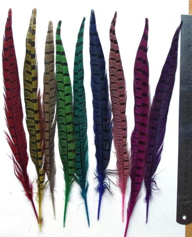Перо фазана ,  длина ок. 24-30 см. (выбрать цвет)