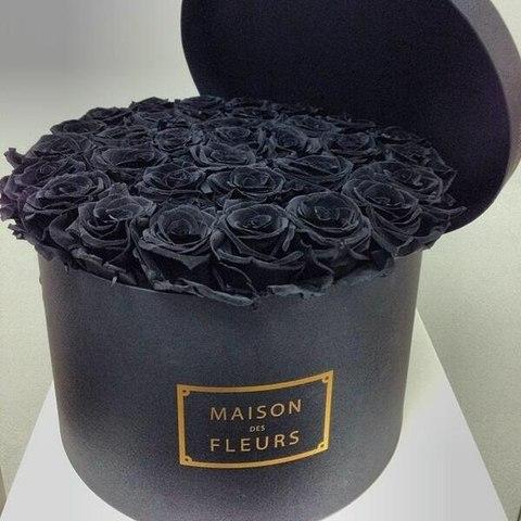 35 чёрных роз в шляпной коробке #26896