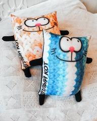 Подушка-игрушка антистресс «Теплый кот», голубой 3