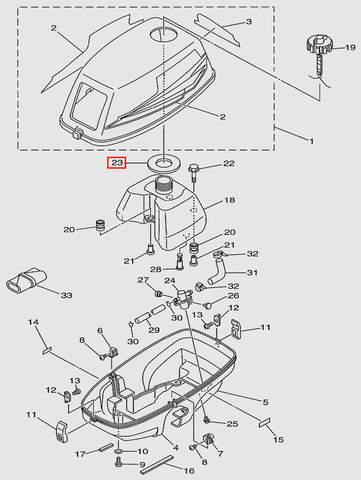 Прокладка горловины топливного бака  для лодочного мотора T3 SEA-PRO (1-23)