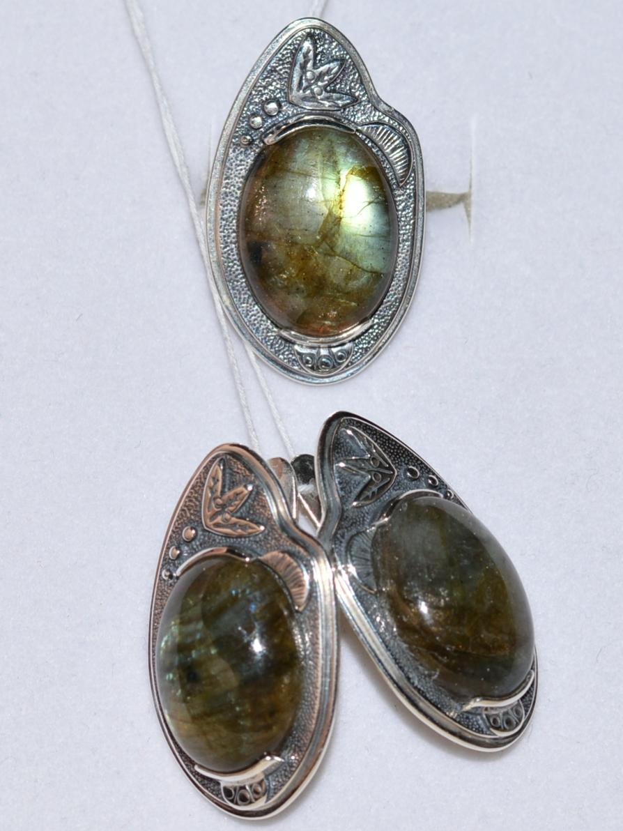 Несса (кольцо + серьги из серебра)