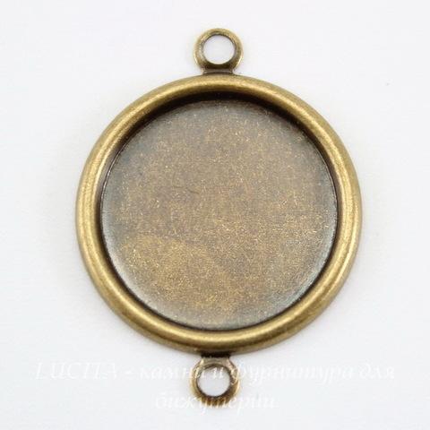 Сеттинг - основа - коннектор (1-1) для камеи или кабошона 15 мм (оксид латуни)