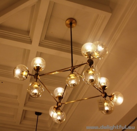 replica Modo Chandelier by ROLL and HILL ( 10 globes + gold  )